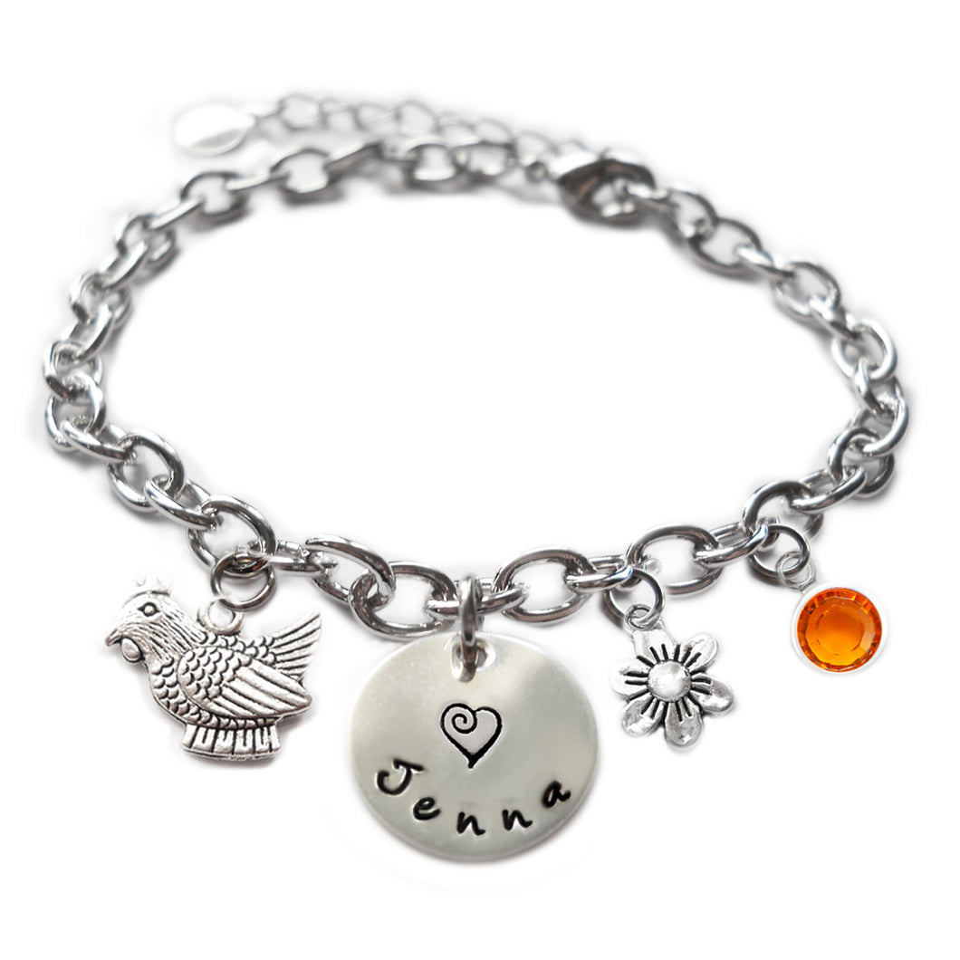 Personalized ROOSTER Sterling Silver Name Charm Bracelet