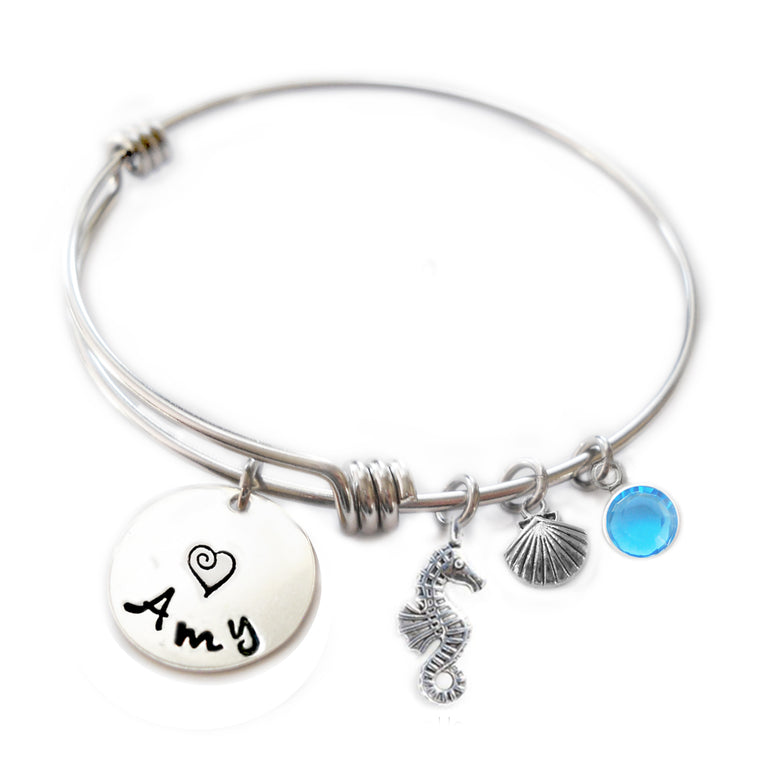 Personalized SEA HORSE Bangle Bracelet with Sterling Silver Name