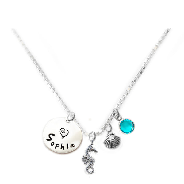 Personalized SEA HORSE Charm Necklace with Sterling Silver Name