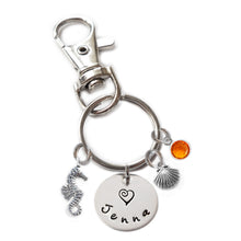 Load image into Gallery viewer, Personalized SEA HORSE Swivel Key Clasp with Sterling Silver Name