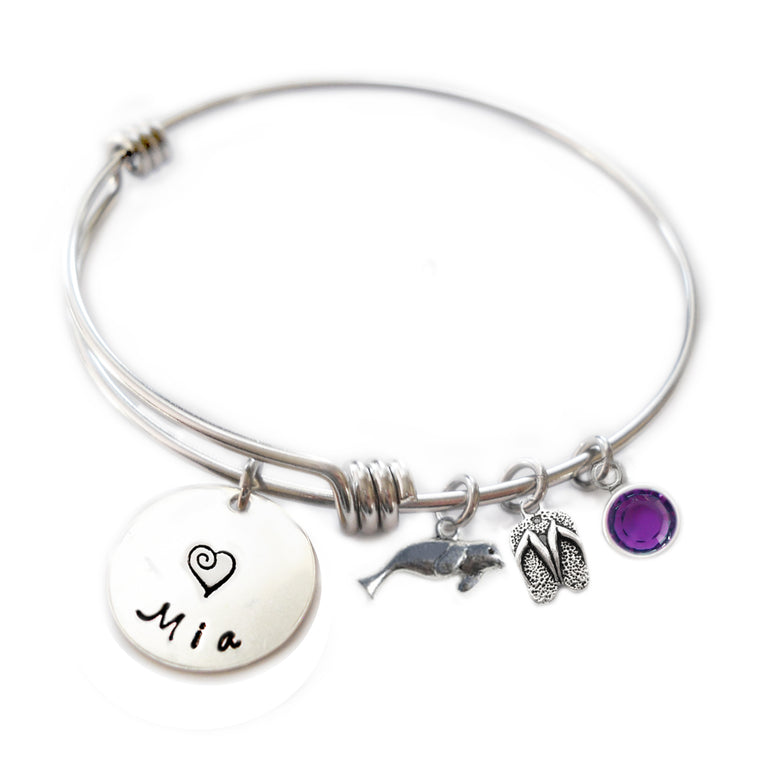Personalized SEA LION Bangle Bracelet with Sterling Silver Name