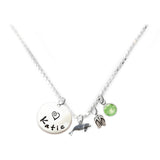 Personalized SEA LION Charm Necklace with Sterling Silver Name