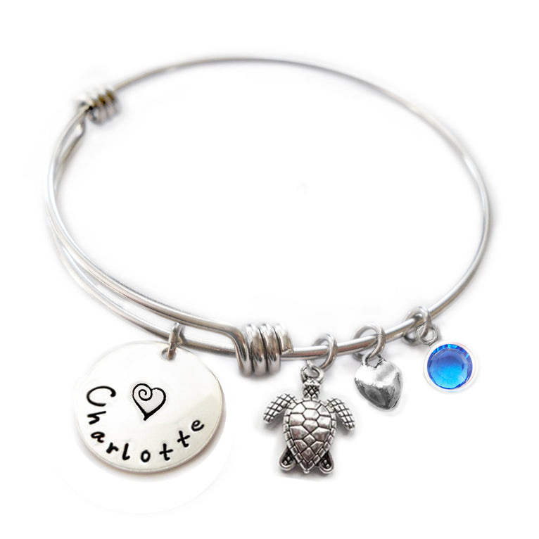 Personalized SEA TURTLE Bangle Bracelet with Sterling Silver Name