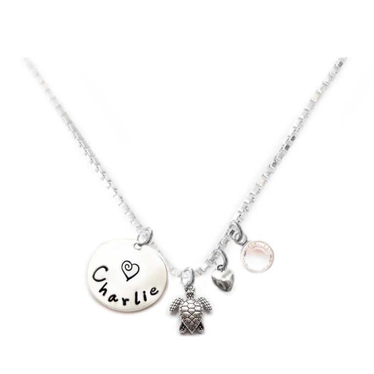 Personalized SEA TURTLE Charm Necklace with Sterling Silver Name