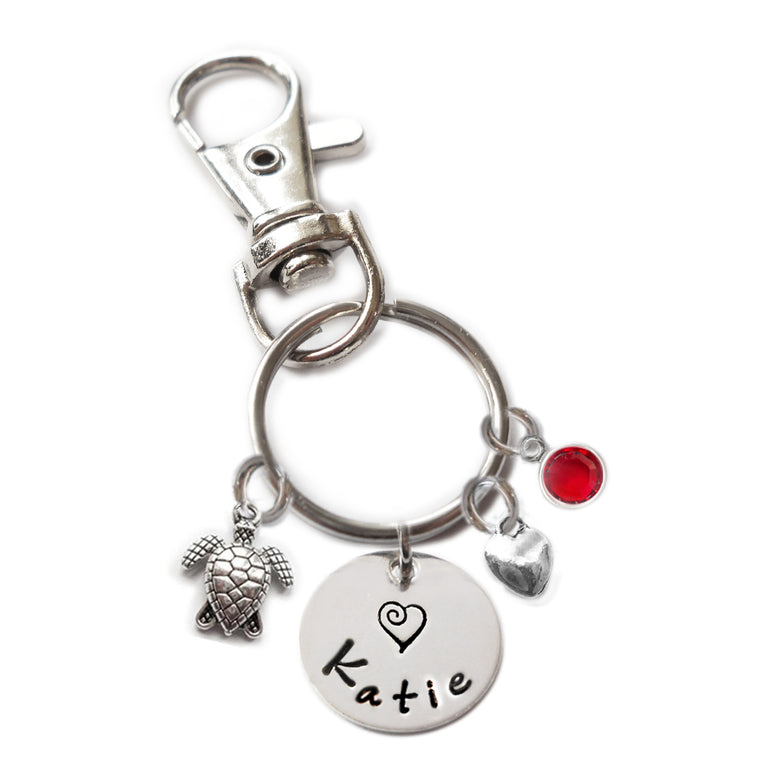 Personalized SEA TURTLE Swivel Key Clasp with Sterling Silver Name