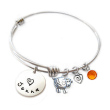 Load image into Gallery viewer, Personalized SHEEP Bangle Bracelet with Sterling Silver Name
