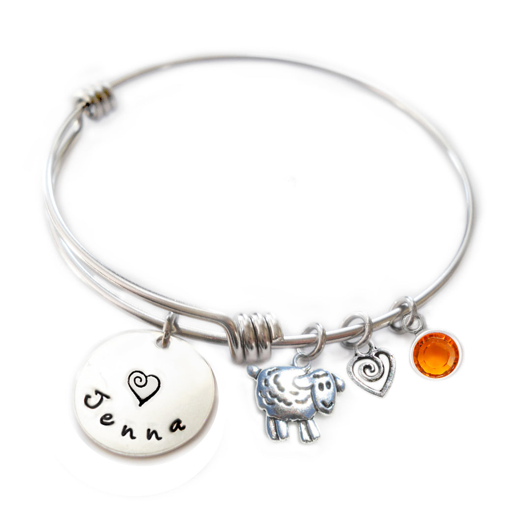 Personalized SHEEP Bangle Bracelet with Sterling Silver Name