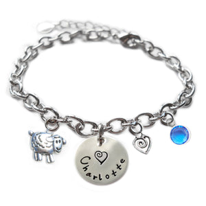 Personalized SHEEP Sterling Silver Name Charm Bracelet