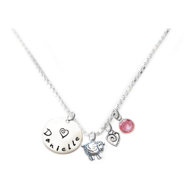 Personalized SHEEP Charm Necklace with Sterling Silver Name