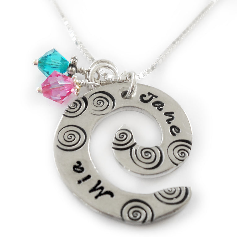 Class - Spiral Pewter Hand Stamped Name Necklace with Birthstones