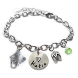 Personalized STINGRAY Sterling Silver Name Charm Bracelet