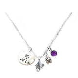 Personalized STINGRAY Charm Necklace with Sterling Silver Name
