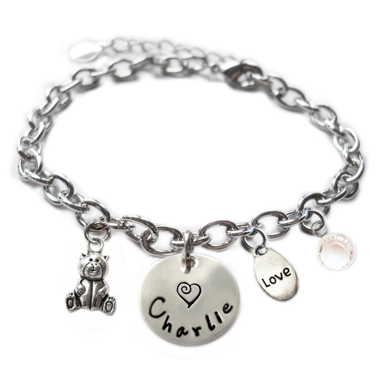 Personalized TEDDY BEAR Sterling Silver Name Charm Bracelet