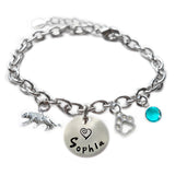 Personalized TIGER Sterling Silver Name Charm Bracelet