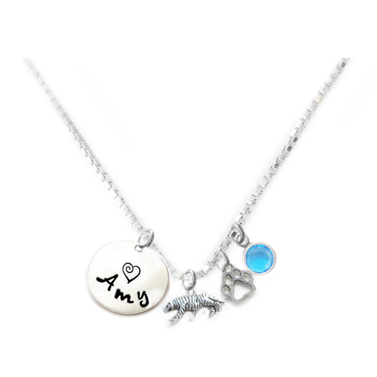 Personalized TIGER Charm Necklace with Sterling Silver Name