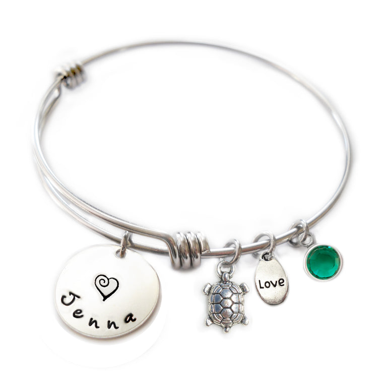 Personalized TURTLE Bangle Bracelet with Sterling Silver Name