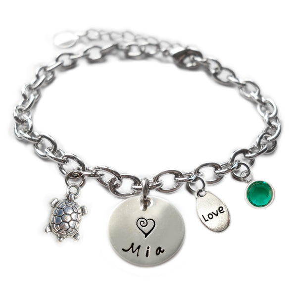 Personalized TURTLE Sterling Silver Name Charm Bracelet