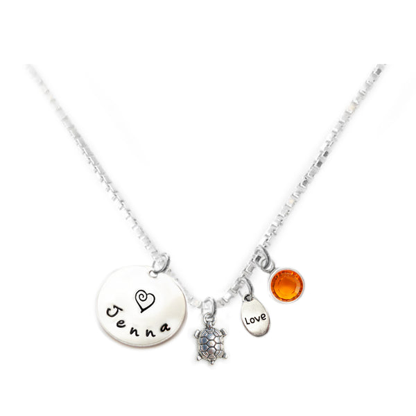 Personalized TURTLE Charm Necklace with Sterling Silver Name