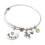 Personalized UNICORN Bangle Bracelet with Sterling Silver Name