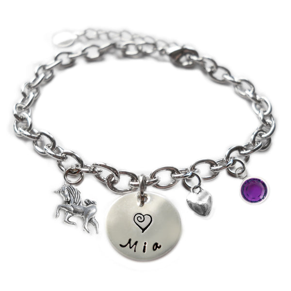 Personalized UNICORN Sterling Silver Name Charm Bracelet