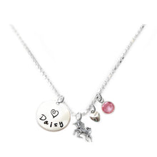 Load image into Gallery viewer, Personalized UNICORN Charm Necklace with Sterling Silver Name