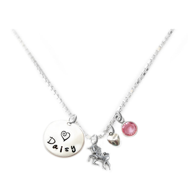 Personalized UNICORN Charm Necklace with Sterling Silver Name