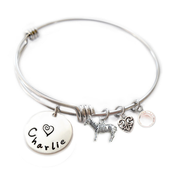 Personalized ZEBRA Bangle Bracelet with Sterling Silver Name