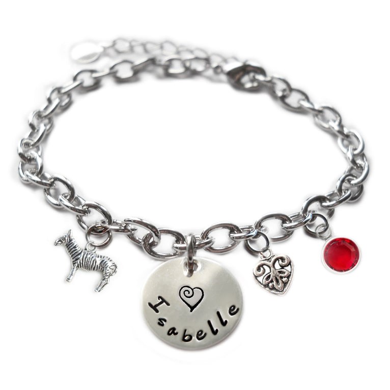 Personalized ZEBRA Sterling Silver Name Charm Bracelet