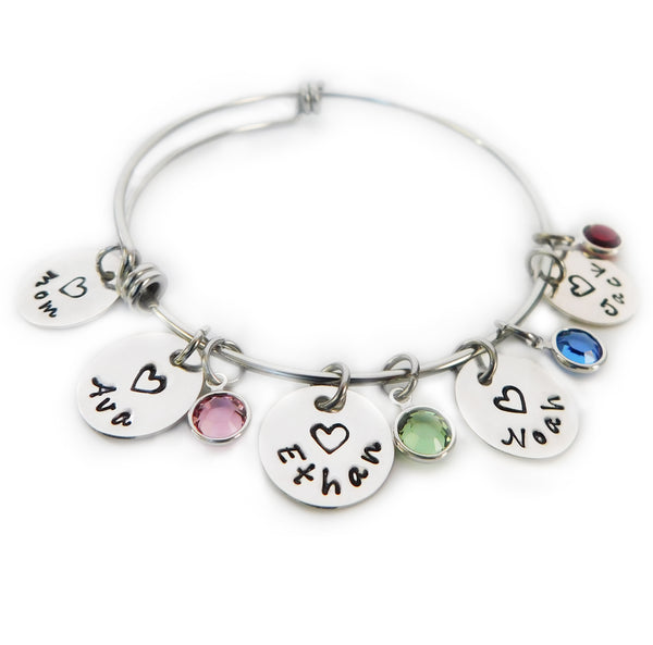 Personalized Sterling Silver Names Bangle for Mom