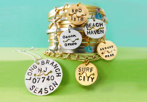 Silver or Gold Beach Badge Necklace - Regular