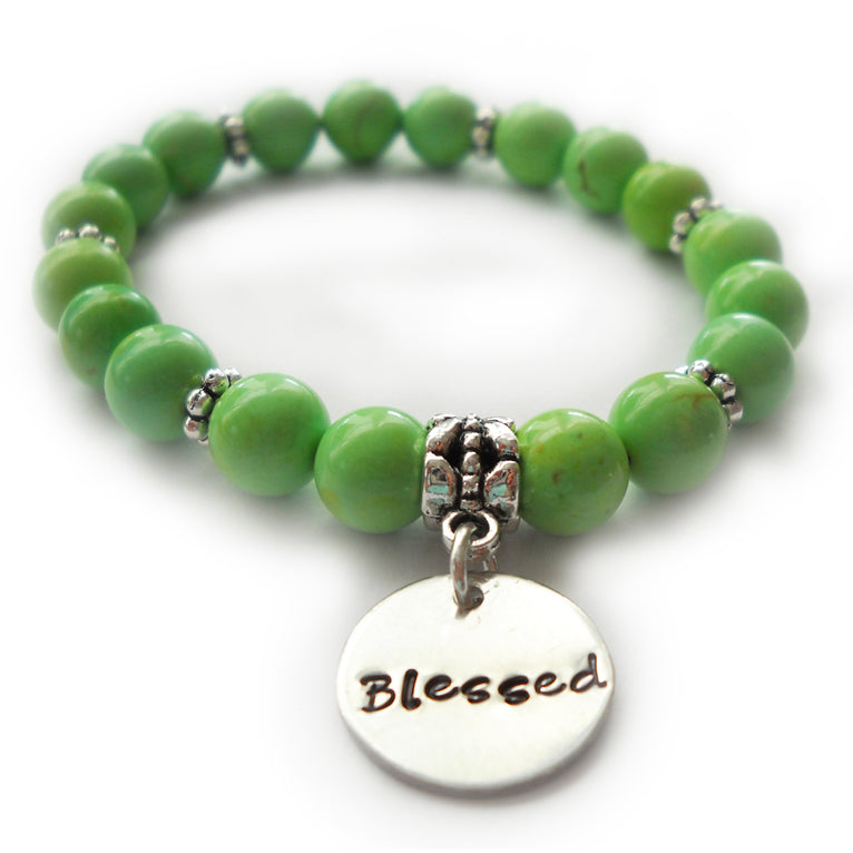 Green Riverstone Beaded Blessed Bracelet