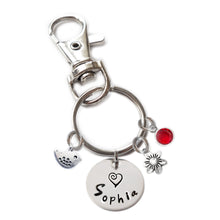 Load image into Gallery viewer, Personalized BIRDIE Swivel Key Clasp with Sterling Silver Name