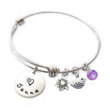 Load image into Gallery viewer, Personalized BIRDIE Bangle Bracelet  with Sterling Silver Name