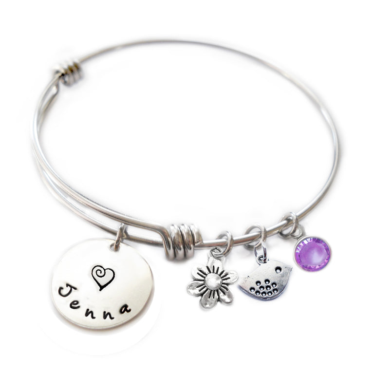 Personalized BIRDIE Bangle Bracelet  with Sterling Silver Name