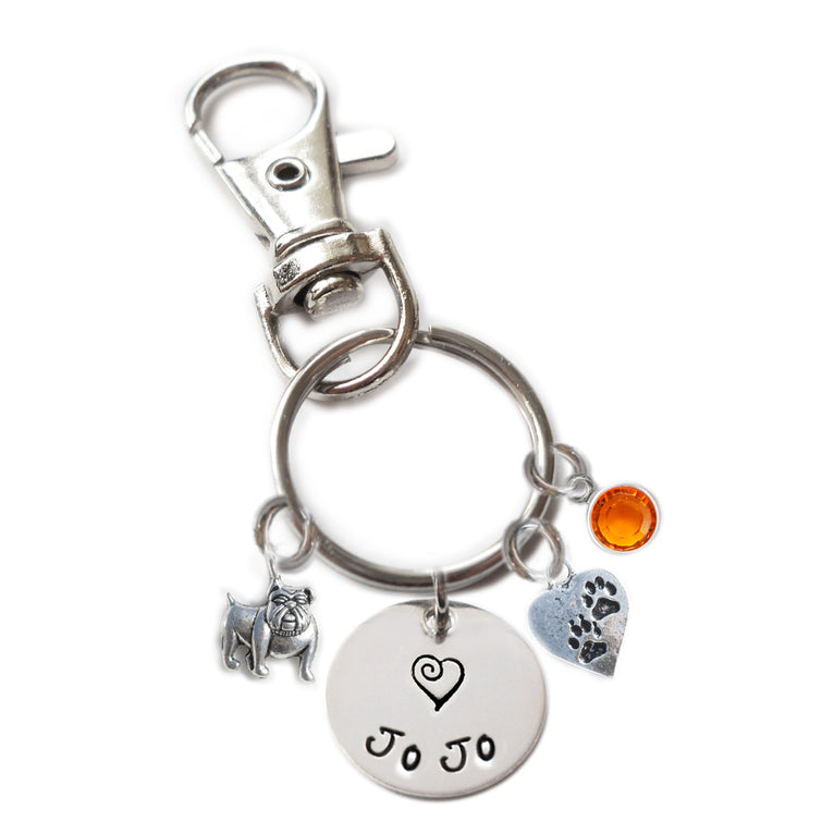 Personalized BULLDOG Swivel Key Clasp with Sterling Silver Name