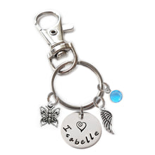 Load image into Gallery viewer, Personalized BIRD ON PERCH Swivel Key Clasp with Sterling Silver Name