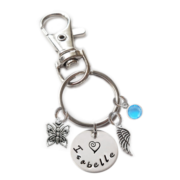 Personalized BIRD ON PERCH Swivel Key Clasp with Sterling Silver Name