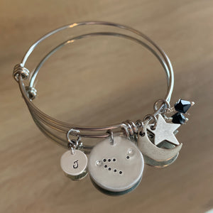 Capricorn Constellation with Moonogram© Expandable Bangle