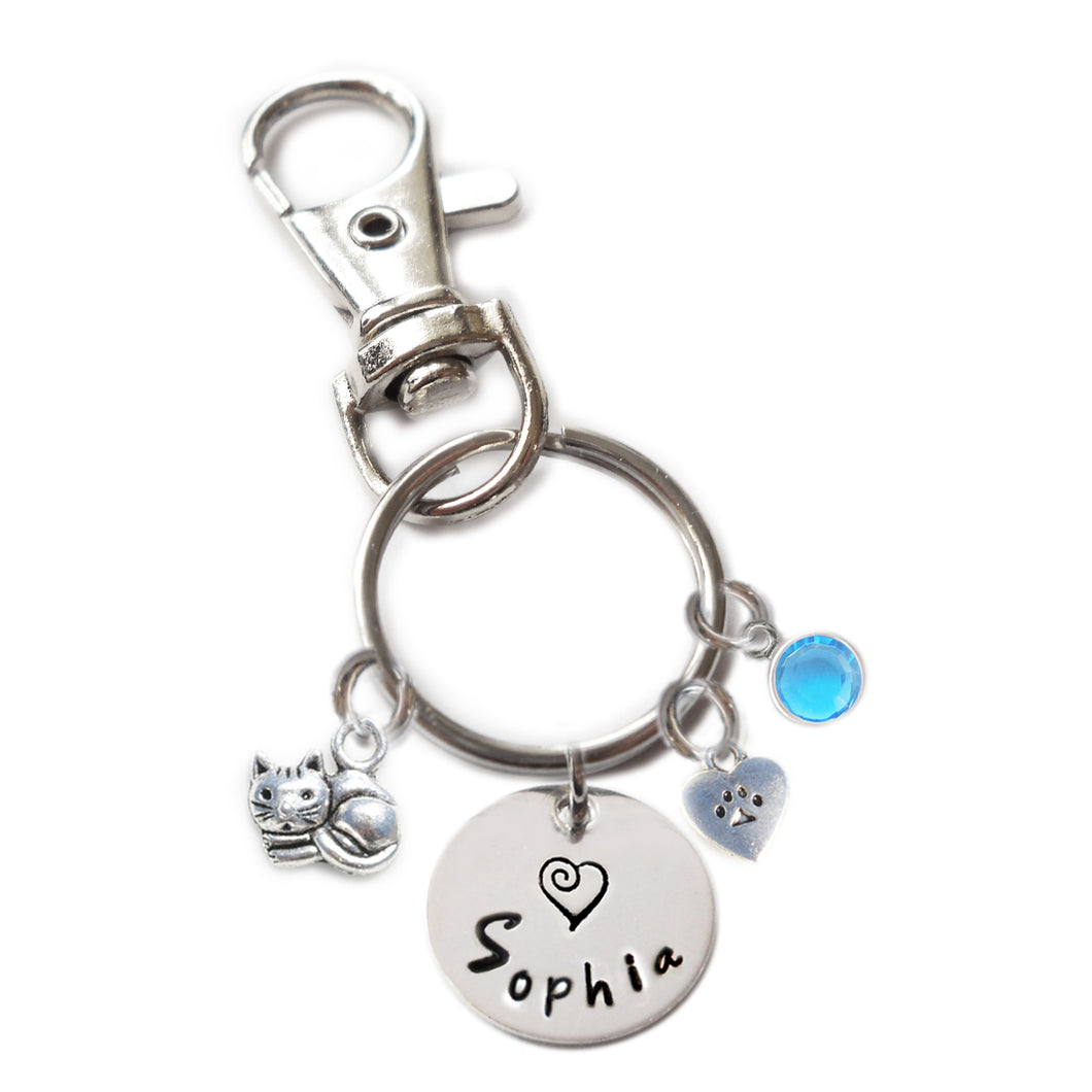 Personalized CUTIE CAT Swivel Key Clasp with Sterling Silver Name