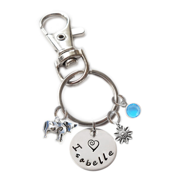 Personalized COW Swivel Key Clasp with Sterling Silver Name