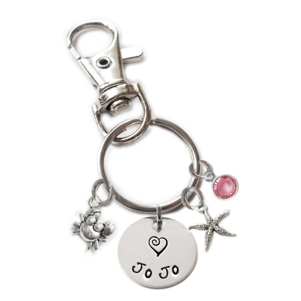 Personalized CUTIE CRAB Swivel Key Clasp with Sterling Silver Name