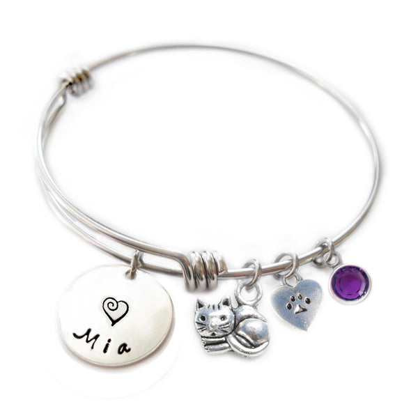 Personalized CUTIE CAT Bangle Bracelet with Sterling Silver Name