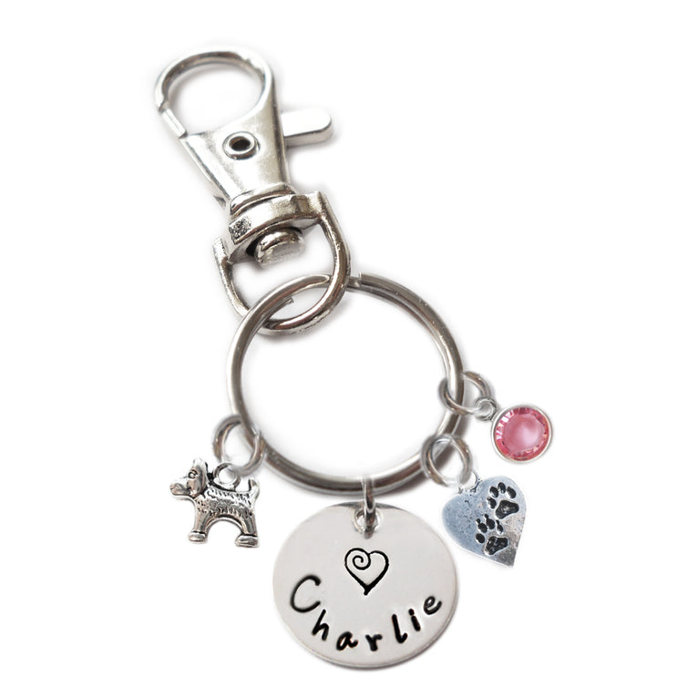 Personalized DOG AND PAWS Swivel Key Clasp with Sterling Silver Name