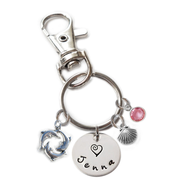 Personalized DOLPHINS Swivel Key Clasp with Sterling Silver Name