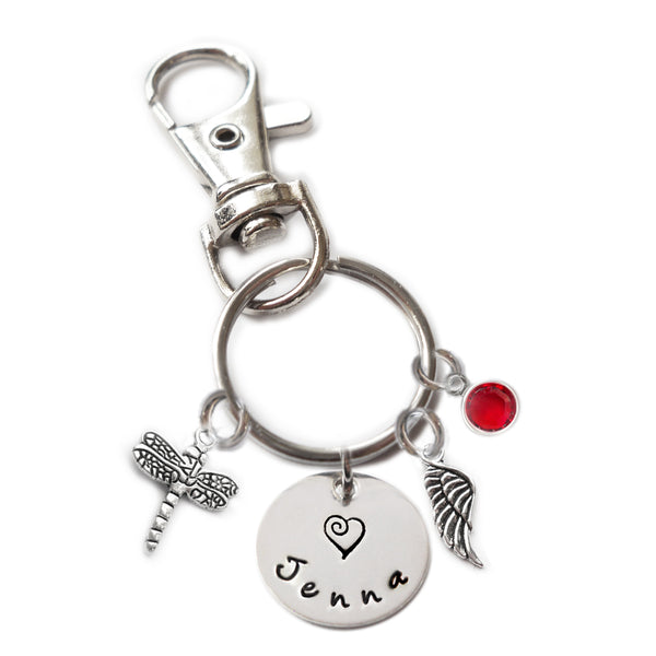 Personalized DRAGONFLY Swivel Key Clasp with Sterling Silver Name