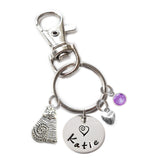 Personalized FAT CAT Swivel Key Clasp with Sterling Silver Name