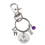 Personalized GIRAFFE Swivel Key Clasp with Sterling Silver Name