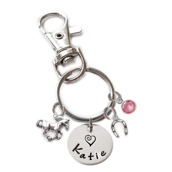 Personalized HORSE Swivel Key Clasp with Sterling Silver Name