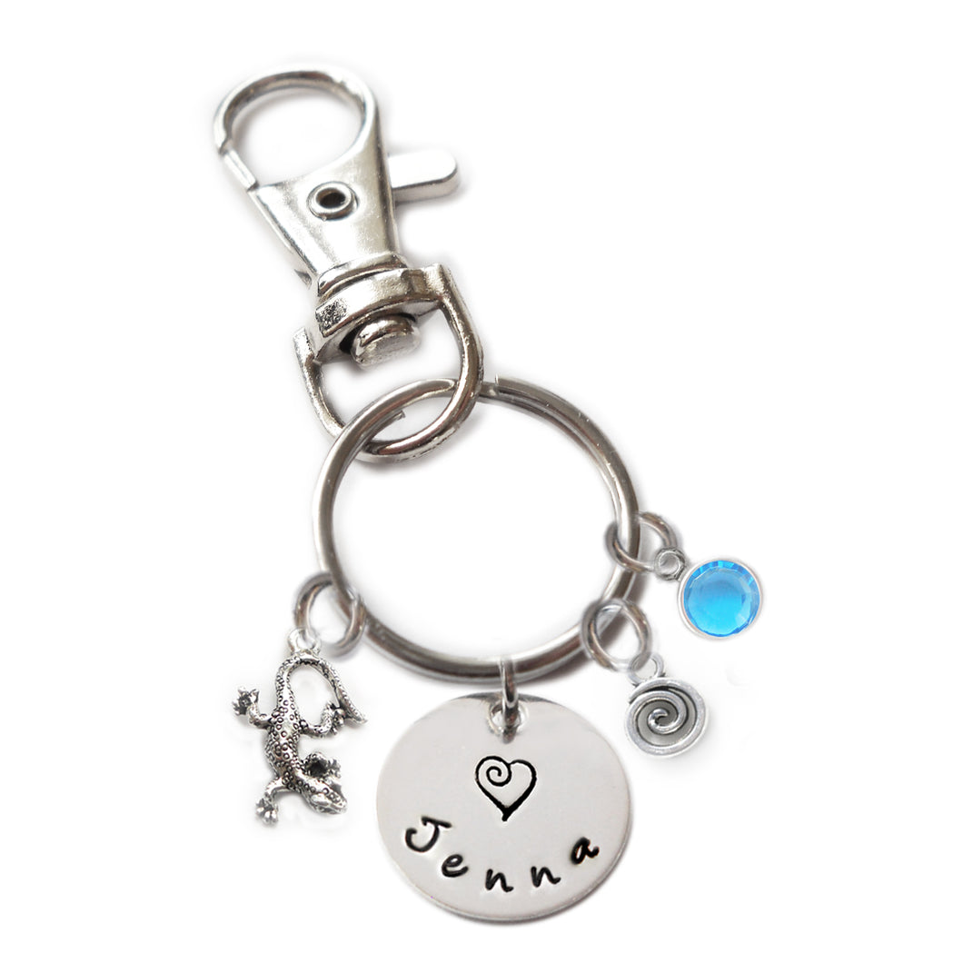 Personalized LIZARD Swivel Key Clasp with Sterling Silver Name