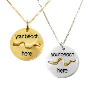 Silver or Gold Beach Badge Necklace - Mini